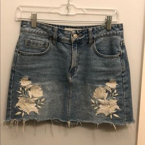 PacSun LA Hearts Embroidered Jean Skirt